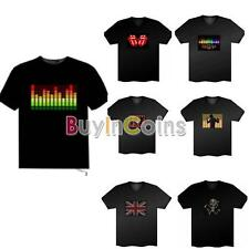 Sound Activated Flashing Light Up And Down Pattern Led EL T-shirt 7 Styles