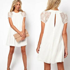 SexyGirl's Short Sleeve Lace Chiffon Slim Cocktail Evening Gown Party Mini Dress