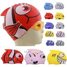 Cute Children Cartoon Swimming Cap Silicon Diving Waterproof Fish Shark  LS4G
