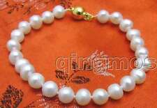 "SALE 6-7mm Natural white freshwater round pearl 7.5""  Bracelet-bra233"