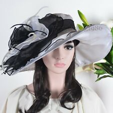 Voguish Kentucky Derby Hat Church Dress Hat Organdy Wide Brim Wedding Hat #QS2