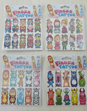 Finger Puppet Tattoos 10 Themed Temporary Stick On Pack Pirates Animal Fairytale