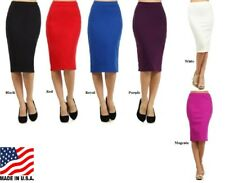 PLUS SIZE ASSORTED COLOR A LINE FORM FITTING KNIT PENCIL SKIRT L XL 2XL 3XL