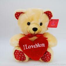 "8"" Plush I Love Mom Bear Red Heart-Shaped Pillow Mother's Day Stuffed Animal Toy"