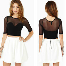 Women  Crop Top Tee T-Shirt Mesh See-through Short Sleeve Casual Loose Blouse