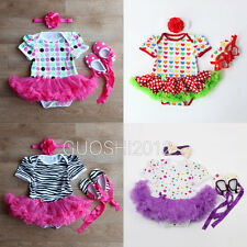 3PCS Newborn Infant Baby Girls Headband+Romper+Shoes Outfit Clothes Tutu Dress