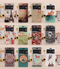 New Cute Cartoon Painting Window View wallet case cover stand For HTC One M7