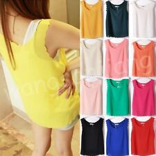 Women Sexy Candy Color Loose Wave Pattern Chiffon Tops Blouses Vest 17 Colors