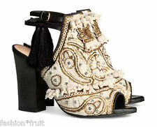 H&M Conscious Exclusive Beige Embroidered Leather Sandals Shoes UK 4 US 6 EU 37
