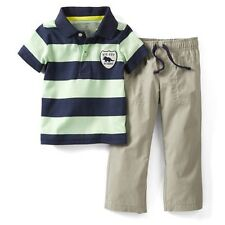 New Carter's Polo Shirt Top Big Guy in Charge & Khaki Pant Set NWT 2T 3T 4T
