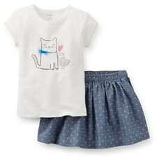 NEW Carter's Happy Kitty Cat & Love Bird Top & Skirt Skort Set 18m 24m 2T 3T 4T