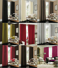 Faux Silk Eyelet Curtains Ring Top Fully Lined Plain Pair OF Curtain Ready Made