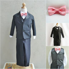 Black boy formal suit with guava/coral bow tie ring bearer party graduation