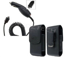 Car Charger + Vertical Leather Swivel Case for ALCATEL Cell Phones ALL CARRIERS