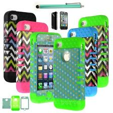 For iPhone 4 4S 4th Durable Hybrid Impact Matte Hard Case Cover Cheap Triple New