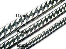 """6/9/11mm 18""""-36"""" Stainless Steel Men Curb Cuban Silver Link Chain Necklace"""