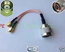 """N Male to Y type 2X RP-SMA Male Splitter Combiner cable pigtail RG316 4-20"""""""