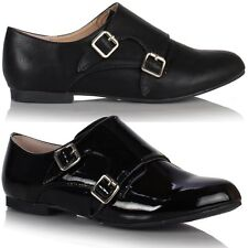 Womens Ladies Girls Flat Casual Leather Style Retro Oxford Brogues Buckle Shoes