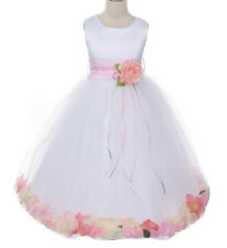 Pink Petals Flower Girl Dress Sash dresses Wedding Pageant Bridesmaid Prom Party