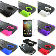 For LG Lucid 3 4G LTE VS876 Hybrid Hard Silicone Case Cover Y Kickstand+Screen