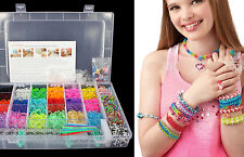 2200 Rainbow Rubber Loom Bands Bracelet Necklace Making DIY S-Clip Kit Set twist
