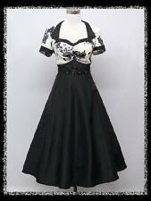 dress190 Black & White Floral Cap Sleeve 50s 60s Rockabilly Party Cocktail Dress