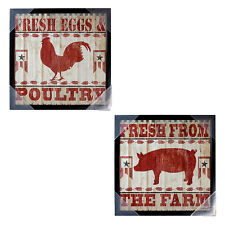 NEW Country Art Wall Farm Pig/Rooster Decor Plaque Picture Kitchen/Cafe Arts