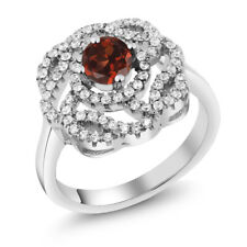 1.63 Ct Round Natural Red Garnet 925 Sterling Silver Ring