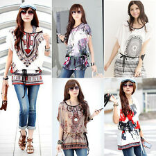 Fashion Women Floral Print Short Sleeve Casual Loose T-shirt Blouse Top