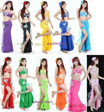 New Sexy Belly Dance 2Pcs Costume Bra & Skirt 11 Colours Available Free Shipping