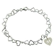 925 Solid Silver Heart Link Charm Bracelet With Any Initial Heart Charm