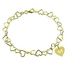 9ct Gold Plated Heart Link Charm Bracelet With Any Initial Heart Pendant