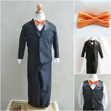 Black boy formal suit with orange tangerine bow tie wedding party graduation