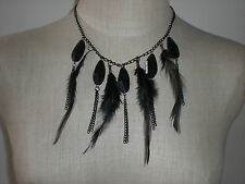 Feathers Chain Necklace Dangling Beaded Bead Earrings Fashion Jewelry Pick Color