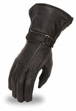 Women's Waterproof Motorcycle Gauntlet Glove Reflective Piping Gel Palm FI119GEL