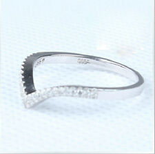 "Size 5-8 Jewelry Soild 925 sterling silver AAA cubic zirconia Wedding ""v"" Ring"