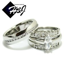 3 Pcs Stainless Steel Eternity CZ Silver Wedding Bridal Matching Ring SET*R59