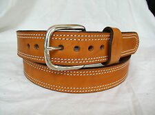 "Belt Tan Plain 2 Ply Lined 1.5"" Heavy Duty Double Stitch Leather Gun Carry"
