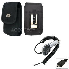Heavy Duty Car Charger + Vertical Canvas Nylon Carrying Case for ZTE Cell Phones