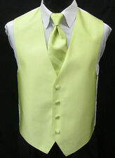 New Key Lime Green Tuxedo Vest & Choice of Tie Wedding Prom *FREE SHIPPING* 3XL