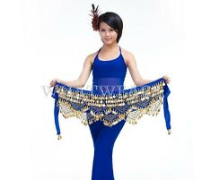 Sexy Belly Dance Practice Costume Hip Skirt Scarf Belt with Coins 9 Colors IUK