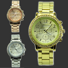 Unisex Womens Mens Perfect Geneva Bling Crystal Stainless Steel Wrist Watch