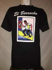 El Borracho Mexican Funny Loteria Bingo Lottery 100% Cotton Black Graphic Shirt