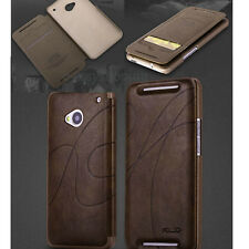 Brown-KLD Fashion PU Leather Card Flip Skin Case Cover For HTC One M7 6445LVW