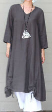 ET'LOIS USA  Linen  VENUS TUNIC  Long Drawstring Detail Dress  S M L XL  TAUPE