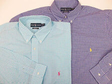 Polo Ralph Lauren LS Classic Fit Gingham Plaid Poplin Shirt  Blue Turquoise NWT
