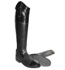 Mark Todd Crocodile Patent Long Leather Field Competition Boots + Worldwide P&P
