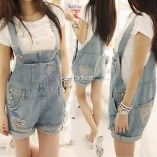Women Girls Washed Jeans Denim Casual Hole Jumpsuit Romper Overall Shorts