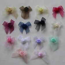 10 BEAUTIFUL ORGANZA BOWS WITH RIBBON ROSE MIDDLE W: 3.2CM (LOTS TO CHOOSE)