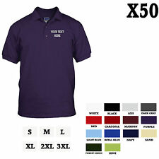CUSTOM PERSONALIZED EMBROIDERED Purple 100% Cotton Adult Polo Shirt Set of 50